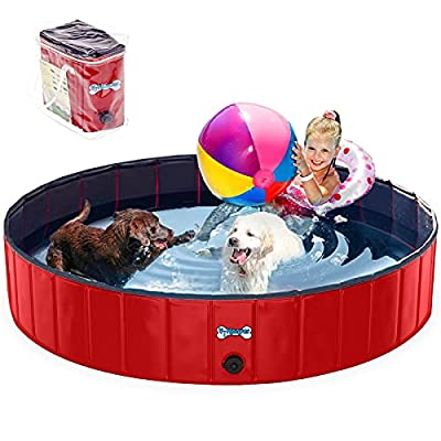 V-HANVER Foldable Dog Pool Collapsible Heavy Duty PVC Pet Pool Bath Tub for XLarge Dogs and Puppies, 63 X 12 inch, XL