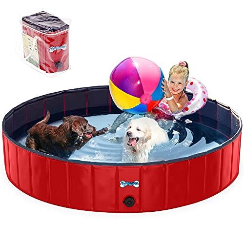 V-HANVER Faltbarer Hundepool für Kleine Mittlere und Große Hunde, Robust Material Planschbecken Bällebad Hunde Pool für Kinder und Hunde mit Durchsichtige Gummitragetasche, 100% Sicher 160CM