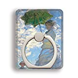 スマホリング モネ 散歩、日傘をさす女 【世界の名画】 ホールドリング 落下防止 スタンド機能 360°回転 絵画 アート おしゃれ デザイン iPhone Android 対応