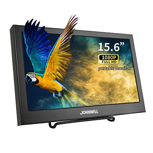 15,6 Zoll VGA tragbarer Bildschirm Ultra HD 1920 x 1080 IPS LCD/LED tragbarer Monitor HDMI VGA Port, Lautsprecher eingebaut, Metallgehäuse schwarz,JOHNWILL