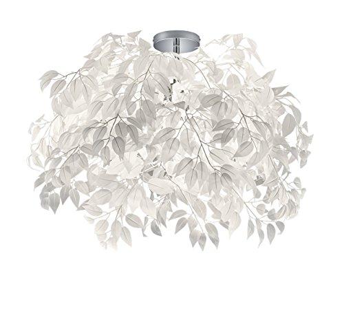 Reality Leuchten Deckenleuchte Leavy R60463001, Metall Nickel matt, Schirm Kunststoff weiß, 3 x E14