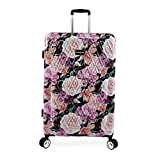 BEBE Women's Luggage Marie 29' Hardside Check in Spinner, Black Floral Print, One Size