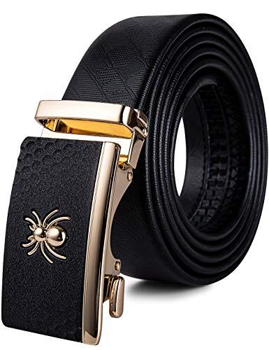 Mens Spider Buckle Belt,Genuine Leather Belt Ratchet Automatic Buckle Alloy Designer Belt Adjustable(43.3'',110cm)