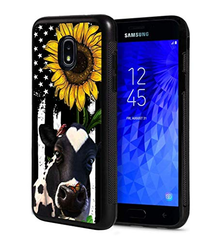 Galaxy J7 2018/J7 V 2018/J7 Refine/J7 Star Case, BWOOLL Slim Anti-Scratch Rubber Protective Case Cover for Samsung Galaxy J7 (2018) - American Flag Sunflower and Cow