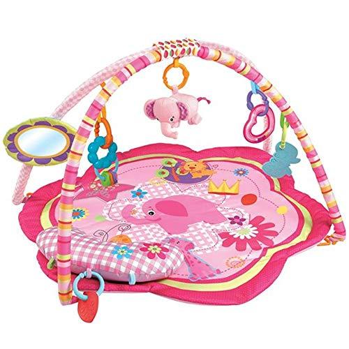 Palestrina Tappeto Gioco per Neonato Fitch Baby In morbido Tessuto Con Giocattoli Peluche Pendenti e Specchio Archi Rimovibili Giocattolo Prima Infanzia Educativo (Rosa)