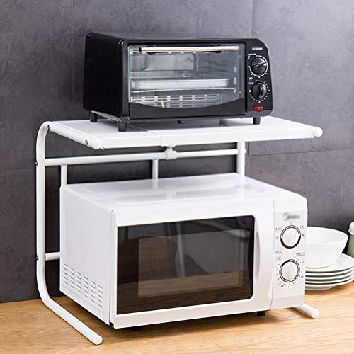 Kitchen furniture - Étagère escamotable en métal de support de four à micro-ondes en forme de U, blanche WXP (Couleur : Blanc)