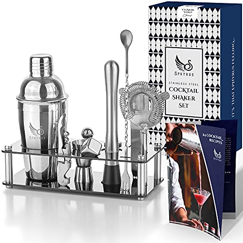 Cocktail Shaker Set-Stainless Steel Bar Set Boston Shaker Kit - Neat Mixology bartender kit-Barware Tool Set with Bartender Accessories - Bar Gift for Women and Me - Booklet with Drink Recipes