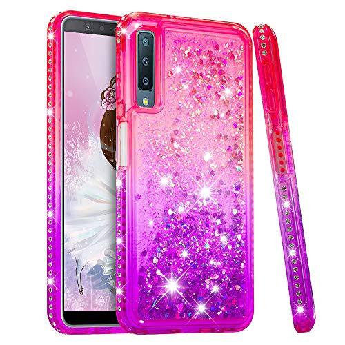 HMTECH Custodia Cover Galaxy A9 2018 Glitter Gardient Clear Liquid Flowing TPU Morbido Silicone Bling Diamond Cover Protettiva Antiurto Custodia per Samsung Galaxy A9 2018,Liquid:Pink Purple