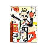 JLFDHR Jean-Michel Basquiat 《Boxer Raq Med》 Street Abstract Graffiti Canvas Art Pintura Al Óleo Obra De Arte Imagen Decoración Decoración del Hogar-60X80Cmx1 Sin Marco
