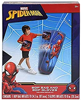 Spiderman Spider-Man Inflatable Bop Bag & Bop Gloves Set Kids Punching Bag with Gloves, Freestanding Superhero Blow Up Bouncing Boxing Bag for Exercise, Durable Heavy Duty Indoor and Outdoor - 34.5