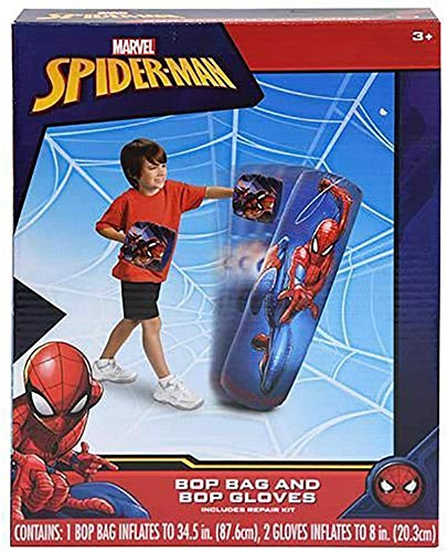 """Spiderman Spider-Man Inflatable Bop Bag & Bop Gloves Set Kids Punching Bag with Gloves, Freestanding Superhero Blow Up Bouncing Boxing Bag for Exercise, Durable Heavy Duty Indoor and Outdoor - 34.5"""""""