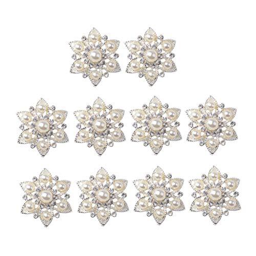 perfeclan Broche de Botones de Diamantes de Imitación de 10 Piezas, Conjunto de Adornos, Botón Trasero Plano de Perlas Sintéticas, Broche de Cristal para Boda