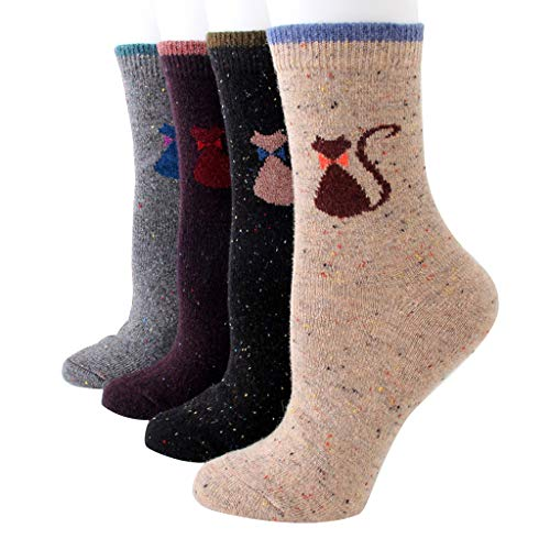 Hergon - 4 pares de calcetines para mujer o niña, invierno, gruesos, lana larga, tripulación, diseño animado, Navidad, reno, gato a rayas, estampado cálido, suelo, regalo de cumpleaños 2 Talla única
