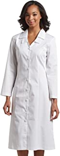 Womens Long Sleeve Embroidered Collar Scrub Dress (White or Black)