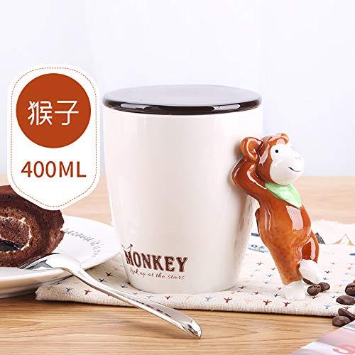 QZHYGE Creativa Animales Taza de cerámica con Tapa No Hay Cuchara Personalidad de Tendencia par de Hombres y Mujeres de la Leche del café Taza de Agua en los hogares CalixMonos
