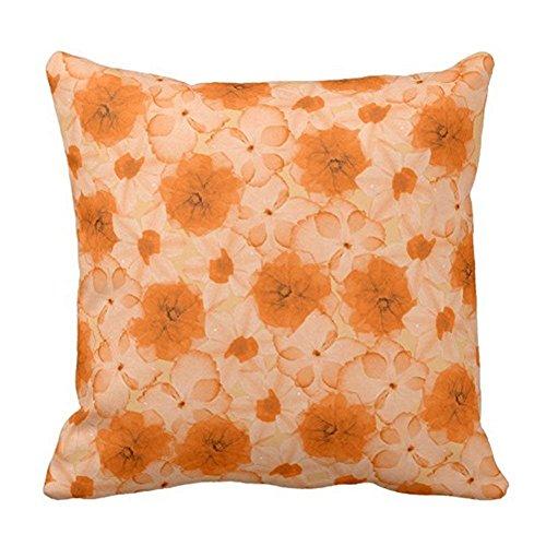 fenrris65 Funda de cojín de 45 x 45 cm, diseño de flores, color naranja