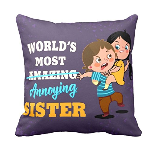 Yaya Cafe Worlds Best Didi Printed Canvas Fabric Cushion Cover (24 x 24 inches; Purple)