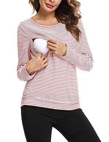 Hawiton Camisetas Lactancia de Manga Larga Invierno Camiseta de Algodon Lactancia Premamá Camisa de...