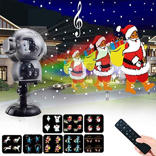 UPODA Christmas LED Snowfall Halloween Waterproof with Remote Control Timer and Music Player Anime...