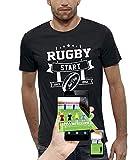 PIXEL EVOLUTION T-Shirt 3D Rugby Start Jeux Video en Réalité Augmentée Homme - Taille XXL - Noir