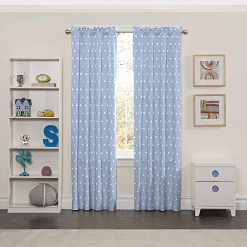 Eclipse Cozy Cumulus Kids Window Curtain Panel, 42x84, Blue