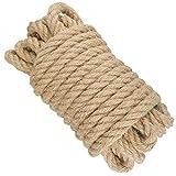 10M Cuerda de Yute 12mm, 4 Capas Cuerda de Cáñamo Gruesa Cuerda rascador para Gatos para Artesanía Embalaje decoración Jardinería Gato Rascarse