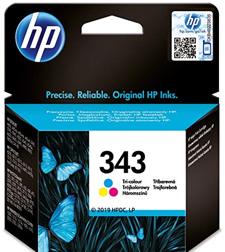 HP 343 C8766EE Tricolor, Cartucho de Tinta Original, Compatible con impresoras de inyección de tinta HP Officejet6210, 6310, 6313, 7110, 7310xi, 7410xi, Photosmart 2610, 2710, 2713, 425; PSC Serie2355