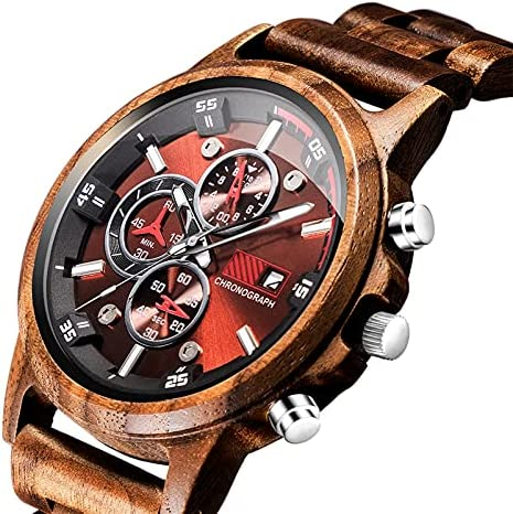 Wooden Watches for Men Personalized Customized Natural Handmade Engraved Wood Watch Analog Japanese Quartz Movement Wood Wrist Watch for Dad Husband Boyfriend WeeklyReviewer