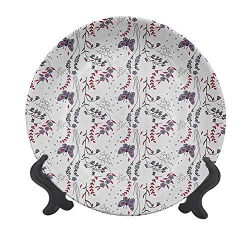 Plato decorativo de cerámica de 15,24 cm, diseño floral dibujado a mano, hojas silvestres, colorido adorno decorativo de cerámica para mesa de comedor, decoración del hogar