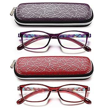Blue Light Blocking Readers for Women - 2 Pack Ladies Computer Reading Glasses +1.0 UV Protection and Best Design Eyeglasses