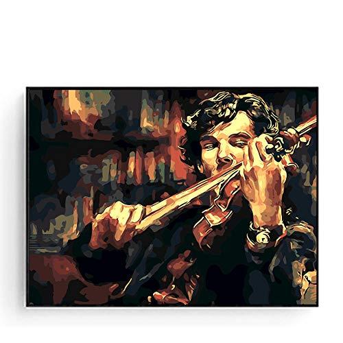 DXNB Sherlock Holmes mit Geige Ölgemälde nach Zahlen DIY Ölgemälde Leinwand malen nach Zahlen Kit TV Play Poster handgemalt 16x20inch No Framed