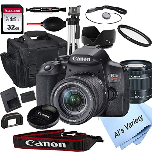 Canon eos rebel t8i dslr camera with 18-55mm f/4-5. 6 stm zoom lens + 32gb sd card, tripod, case, and more