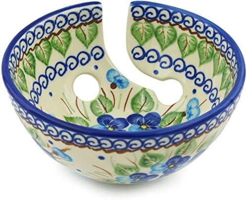 Amazon Com Polish Pottery Yarn Bowl 6 Inch Blue Eyed Peacock