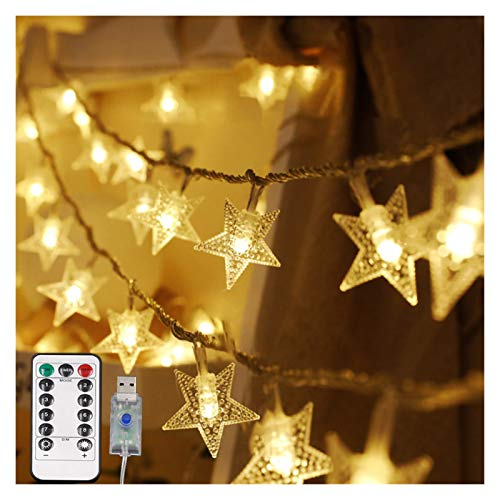 String Lights LED Star Light String Twinkle Garlands Battery Powered Christmas Lamp Holiday Party Wedding Decorative (Emitting Color : WarmWhite USB)