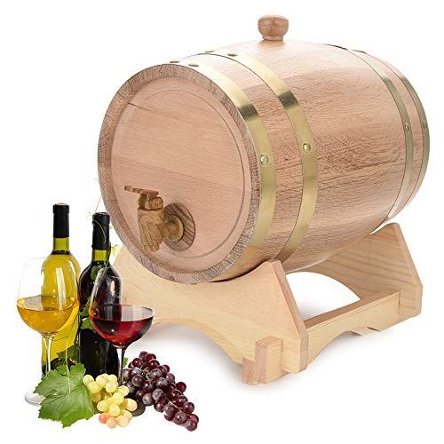 Yosoo Health Gear Barril de Roble Barril de Madera 5L, dispensador de Vino Barril de Vino para Almacenamiento, Cerveza, licores, Whisky, Ron, Puerto, borbón, Tequila, Licor
