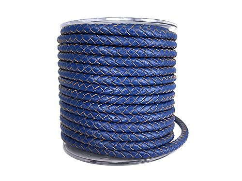 Sescha Boloband/geflochtenes Lederband in blau 6 mm - 1 Meter