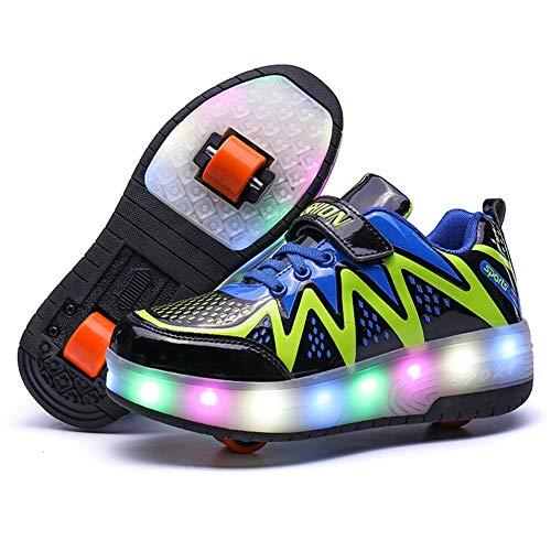 Zapatillas con Ruedas,Niños Niña LED Luz Parpadea Deportes Al Aire Libre Gimnasia Skateboard Sneaker Automáticamente Retráctiles Zapatos De Roller (Color : 2, Size : 40 EU)