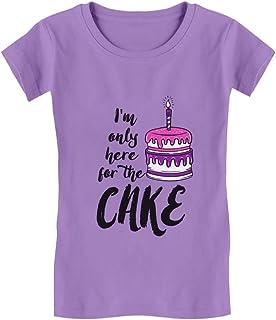 Tstars - I'm Only Here for The Cake Birthday Toddler/Kids Girls' Fitted T-Shirt