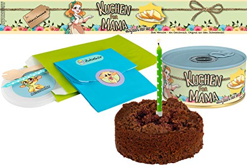 Kuchen für Mama | Kuchen in der Dose | Personalisiert mit Wunsch Namen und Geschmack | Geschenk | Geschenkidee (Schoko-Kirsch, Blau)