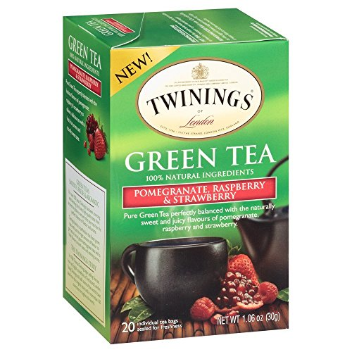 Twinings Green, Pomegranate, Raspberry, and Strawberry Bagged Tea, 2 Pack.
