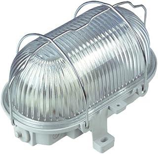 REV Owalna lampa – Made in Germany ǀ Owalna armatura z tworzywa sztucznego ze szkłem strukturalnym i metalowym koszem ochr...