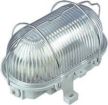 Rev ovale lamp – made in Germany, ovaal armatuur van kunststof met structuurglas en metalen beschermmand, IP44, 100 W E27 ...