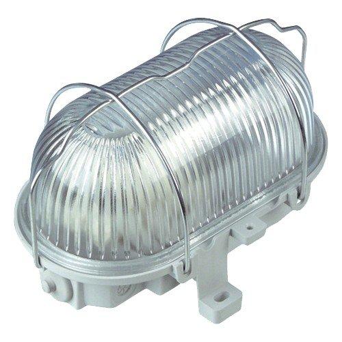 REV OVALLEUCHTE – Made in Germany ǀ Ovalarmatur aus Kunststoff mit Strukturglas und Metall-Schutzkorb ǀ Feuchtraum-Leuchte IP44 ǀ 100W E27 LED-geeignet ǀ Farbe: grau
