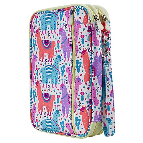 YOUSHARES 192 Slots Colored Pencil Case, Large Capacity Pencil Holder Pen Organizer Bag with Zipper for Prismacolor Watercolor Coloring Pencils, Gel Pens for Student & Artist (Color Alpaca)