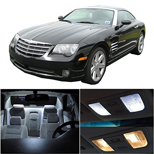 cciyu 11 Pack White LED Bulb LED Interior Lights Accessories Replacement Package Kit Replacement fit for 2004-2008 For Chrysler Crossfire