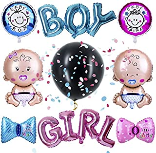 """PROLOSO Baby Gender Reveal Balloons Party Decoration Supplies Jumbo 36"""" Balloons with Blue and Pink Confetti and Foil Ball..."""