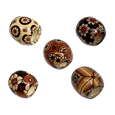 Housweety 100 Mixed Painted Drum Wood Spacer Beads 17x16mm + Free Bracelet