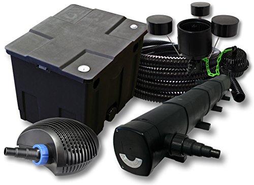 SunSun Kit Filtration de Bassin 12000l avec 72W Stérilisateur CTF Pompe avec 40W 25m Tuyau Skimmer CSP-250
