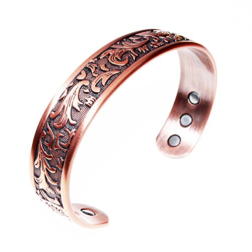 LONGRN-Copper Bracelet Used for Arthritis - a Pure Copper Magnetic Bracelet with 6 Magnets for Men and Women to Effectively Relieve Joint Pain.