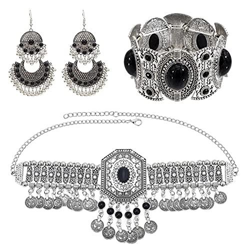 xingguang Juego de joyas para collar y pulsera, pendientes para mujer, bohemio, hippie, con borla de moneda, rojo, azul y piedra (color metálico: parte trasera)